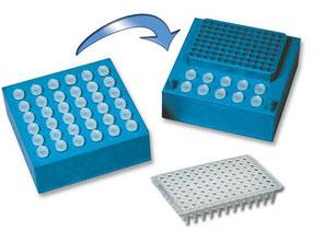 PCR Rack for Cooling, Kühlblock für PCR plates und Tubes