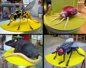 Anfertigung der Tiere montiert auf Platten, Durchmesser je 100 cm