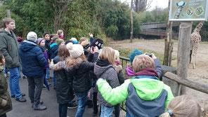 Unser Praktikant Sascha, links im Bild, begleitete uns auch auf dem Ausflug zum Duisburger Zoo.