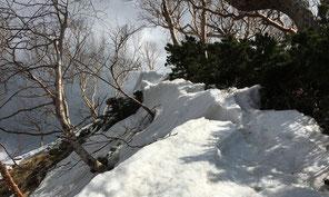 斜面には、ぐずぐずの雪が付いてます