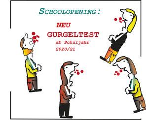 Neue Prüfungsverordnung? Das Auffälligste bei der Präsentation der Herbstpläne des Ministers war die Gurgelshow mit Schulkindern. Bild:spagra