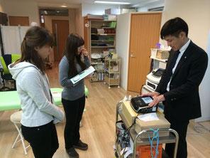 超音波治療器、特殊電気治療器の勉強会風景