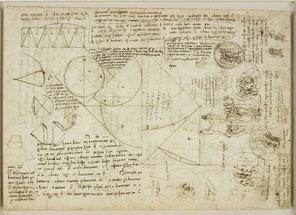 Quaderno di Leonardo Da vinci: immagini e testi sono compresenti