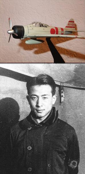 写真上:筆者が米国の友人にプレゼントした零戦のモデル(志賀淑雄大尉搭乗機)、写真下:志賀淑雄大尉( ©wikipedia )