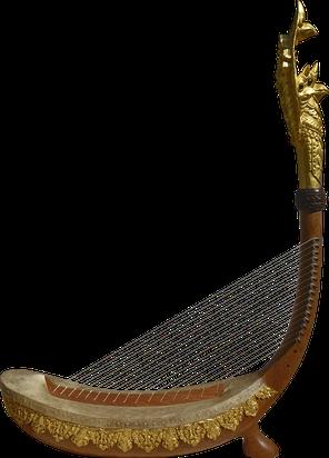"""""""Harpe Royale"""" réalisée par Prestige Art Khmer et offerte à Sa Majesté le roi Norodom Sihamoni le 22/12/2019 par Cambodian Living Arts."""