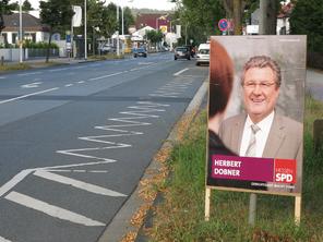 Illegal aufgestelltes Plakat der SPD