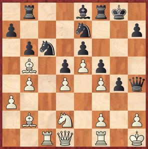 Hein - Margenberg: Hier verfiel Weiß auf den Damenzug 26.Db3? und musste nach dem starken 26. ... Sxd4 einen wichtigen Zentrumsbauern abgeben und außerdem zulassen dass der schlechte weißfeldrige Läufe des Schwarzen aktiviert wurde.