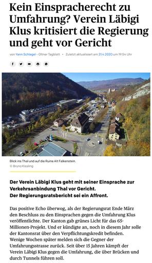 Solothurner Zeitung vom 21./22. April 2020