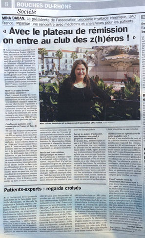 LMC France Journal La Marseillaise leucemie myeloide chronique nouveau medicament espoir guerison itk glivec tasigna spycel bosulif iclusig
