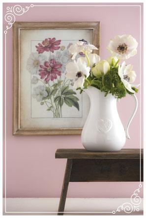 Wohnträume in zarten Farben, Blumenvase, Bild, Frühlingsstrauß, Deko, Brakel, Dekoration, Clayre & Eef