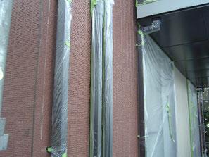 竪雨樋 塗装中