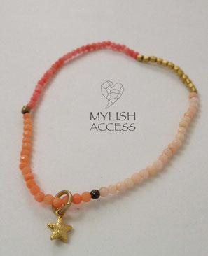 珊瑚の華奢なピンクスターブレス#373