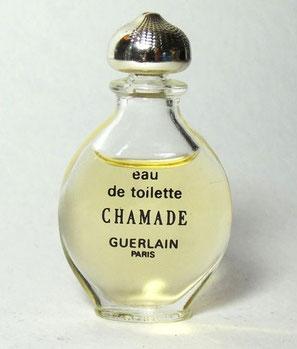 """CHAMADE - MINIATURE """"GOUTTE"""" - EAU DE TOILETTE, CONTENANCE NON INDIQUEE SUR LA MINIATURE - BOUCHON DORE"""