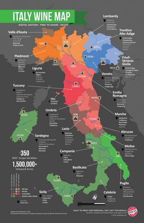 De wijnkaart van Italië