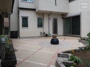 タイルテラス、テラコッタ、サークルストーン、和風、レンガ花壇、石積花壇、ノーメンテナンス、施工例