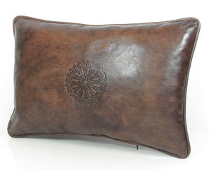 Mina Design Lederkissen Leder Kissen cognac Sitzkissen Zierkissen Sofakissen leather cussion pillow coussin en cuir