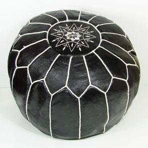 Ledersitzkissen orientalische Sitzkissen Pouf Pouffe Bodenkissen Sitzhocker schwarz weiß