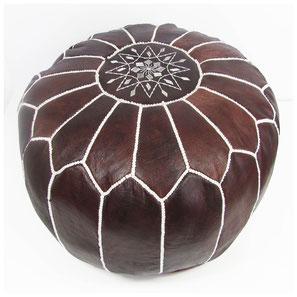 Pouf Ledersitzkissen Ottoman orientalische Sitzkissen Bodenkissen Sitzhocker moroccan leather pouffe braun vintage weiß brown marron