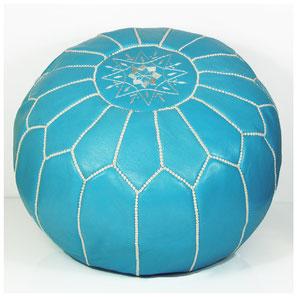 Pouf Ledersitzkissen Ottoman orientalische Sitzkissen Bodenkissen Sitzhocker moroccan leather pouffe türkis hellblau blau weiß