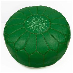 Pouf Ledersitzkissen Ottoman orientalische Sitzkissen Bodenkissen Sitzhocker moroccan leather pouffe dunkelgrün grün green vert