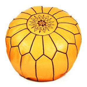 Pouf Ledersitzkissen Ottoman orientalische Sitzkissen Bodenkissen Sitzhocker moroccan leather pouffe gelb braun schwarz