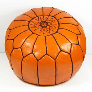Pouf Basketball Ledersitzkissen Ottoman orientalische Sitzkissen Bodenkissen Sitzhocker moroccan leather pouffe orange braun