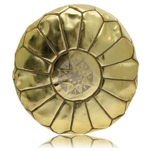 Ledersitzkissen gold orientalische Sitzkissen Pouf Pouffe Bodenkissen Sitzhocker