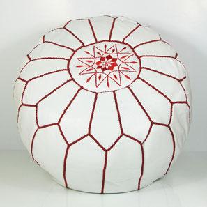 Ledersitzkissen orientalische Sitzkissen Pouf Pouffe Bodenkissen Sitzhocker rot weiß