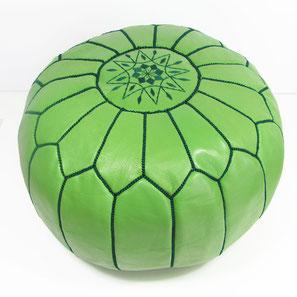 Pouf Ledersitzkissen Ottoman orientalische Sitzkissen Bodenkissen Sitzhocker moroccan leather pouffe hellgrün grün dunkelgrün green