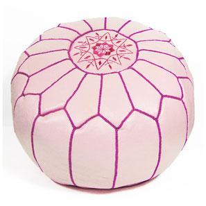 Pouf Ledersitzkissen Ottoman orientalische Sitzkissen Bodenkissen Sitzhocker moroccan leather pouffe rosa pink violett lila