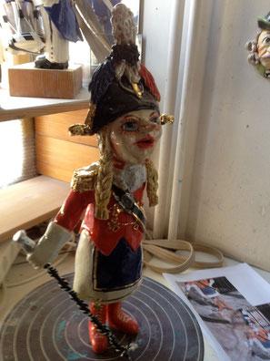 Major nach Foto, 28 cm Fasnachtsfigur Keramik