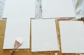 3、絵を描く、基底材は板を用います。(キャンバスも可)板に、ボローニャ石膏とウサギ膠を混ぜたものを何層か塗ります。