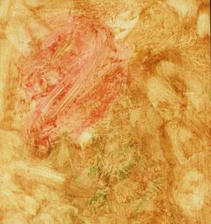 4、インプリミトュラ。3の板に、油絵の具で一層目の地塗りを施します。