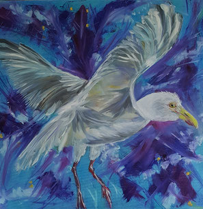 Seagull in the storm 60x60cm
