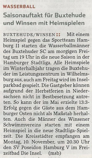 Hamburger Abendblatt vom 06.11.2014. Wasserball: Saisonauftakt für Buxtehude und Winsen