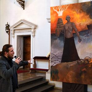 Georg München Margaret Raoul Rossmy Katholisch Kunst Engel Kampf Kain und Abel Führung Vernissage