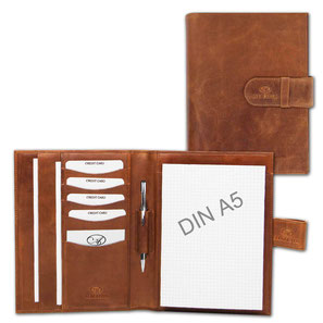 Almadih Ledermappe A5 Braun Vintage leather portfolio brown