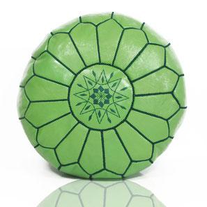 Almadih Leder Sitzkissen Grün leather pouf green