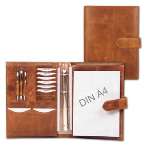 Almadih Ledermappe A4 Braun Vintage leather portfolio brown