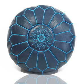 Leder Sitzkissen Blau leather pouf blue