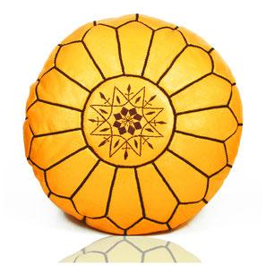 Almadih Leder Sitzkissen Gelb leather pouf yellow