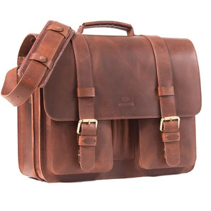 Almadih Ledertasche Leder Aktentasche Braun leather briefcase brown