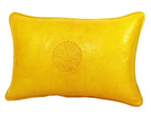 Leder Sitzkissen Creme leather pouf creme
