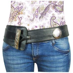 Almadih Leder Hüftgürtel Schwarz leather Waist Belt