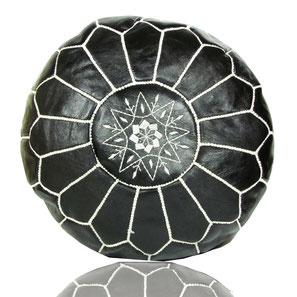 Almadih Leder Sitzkissen Schwarz leather pouf Black