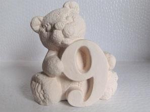 Keramikrohling Zahlenbär zum selbst bemalen