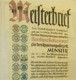 Meisterbrief Richard Engelbert