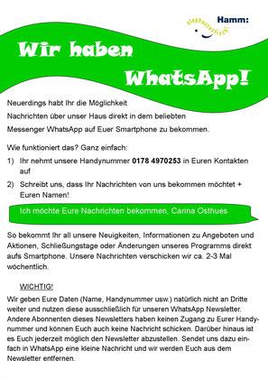 Neuigkeiten, Newsletter, WhatsApp, Broadcast, Jugend- und Stadtteilzentrum Rhynern, Ju&St Rhynern