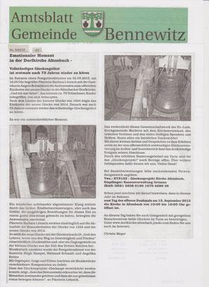 Auszug aus dem Amtsblatt durch Klick vergrößerbar