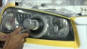 BNR34のヘッドライト磨き・コーティング